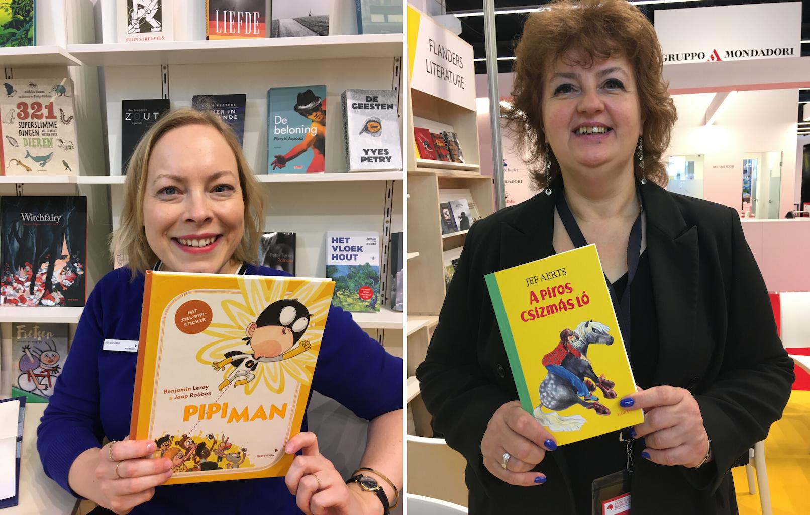 Kerstin Rabe (Mixtvision) met de Duitse uitgave van 'Plasman' (links) en Csilla Szabo (uitgeverij Mora) met de Hongaarse editie van 'Paard met laarzen'