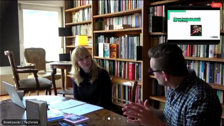 Screenshot met Bart Moeyaert en Emilia Menkveld